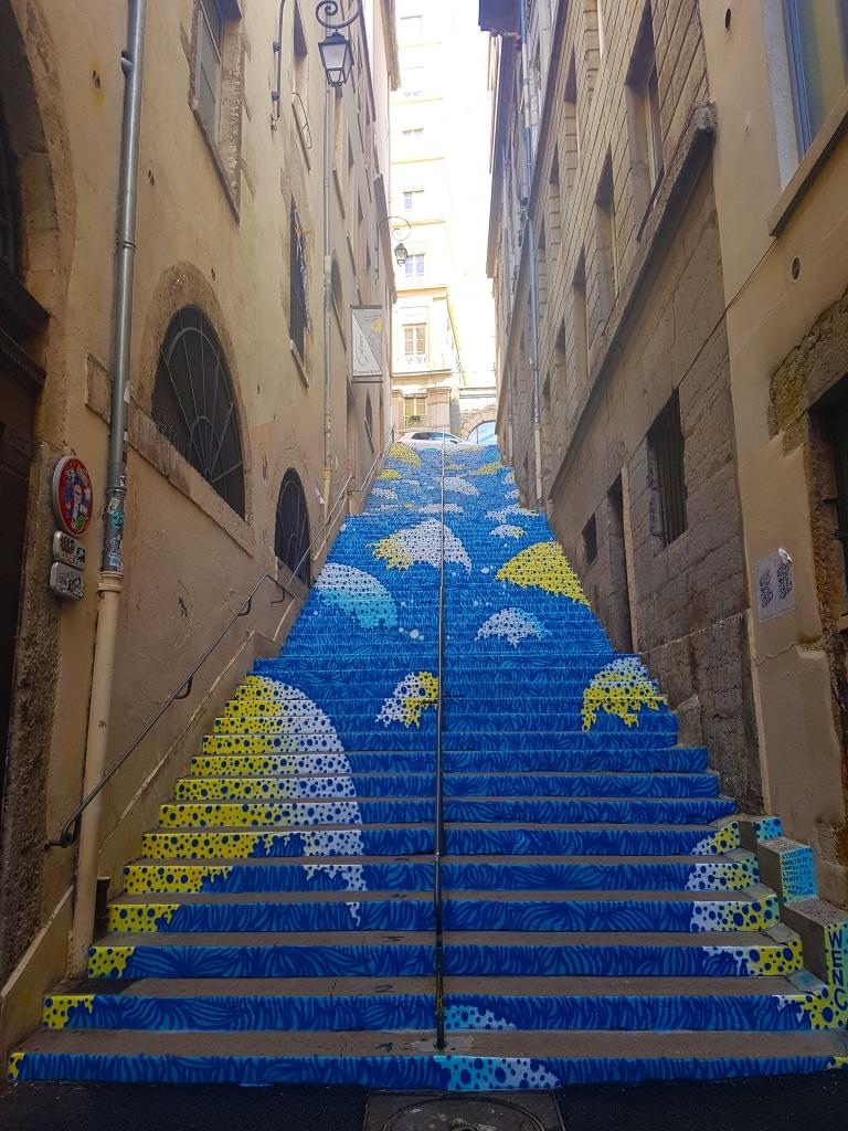 Escalier peint, Passage Mermet sur les pentes de la Croix Rousse pour le festival street art Peinture Fraîche de Lyon