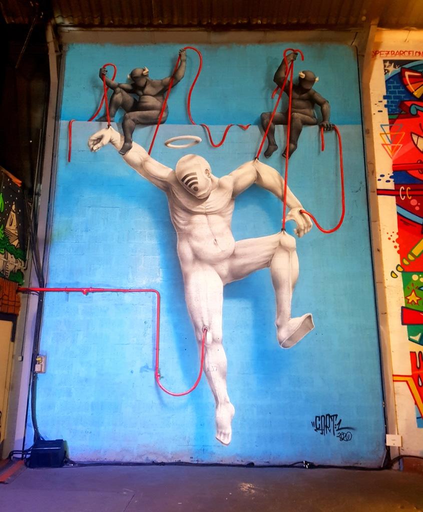 Le street artiste Cart 1 pour le festival street art Peinture Fraiche 2020