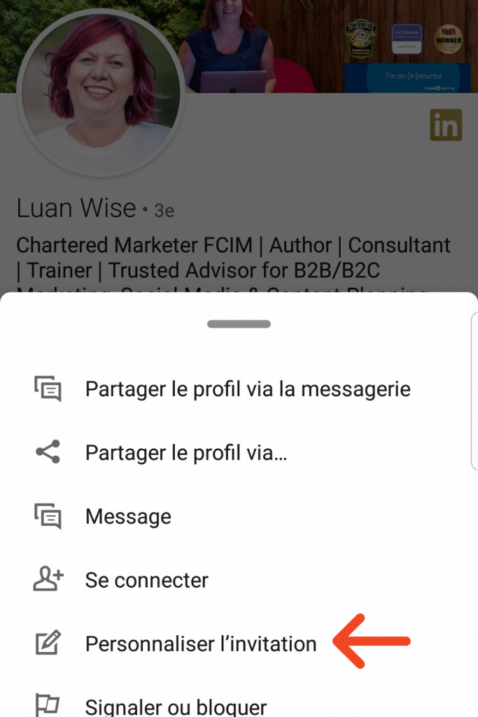 Personnaliser l'invitation sur l'application LinkedIn