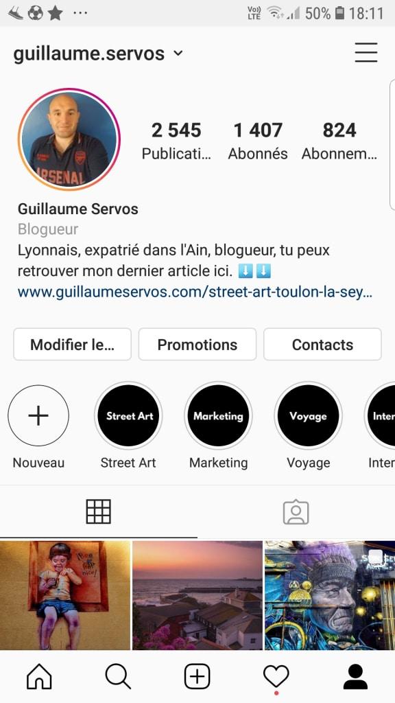 Profil Instagram de Guillaume Servos
