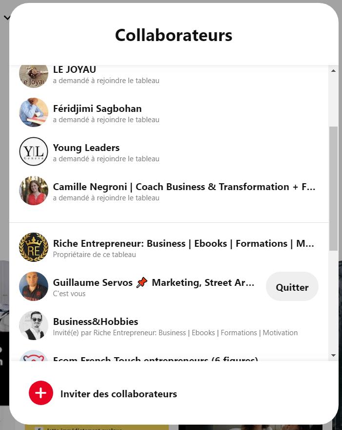 Comment quitter un tableau collaboratif sur Pinterest ?