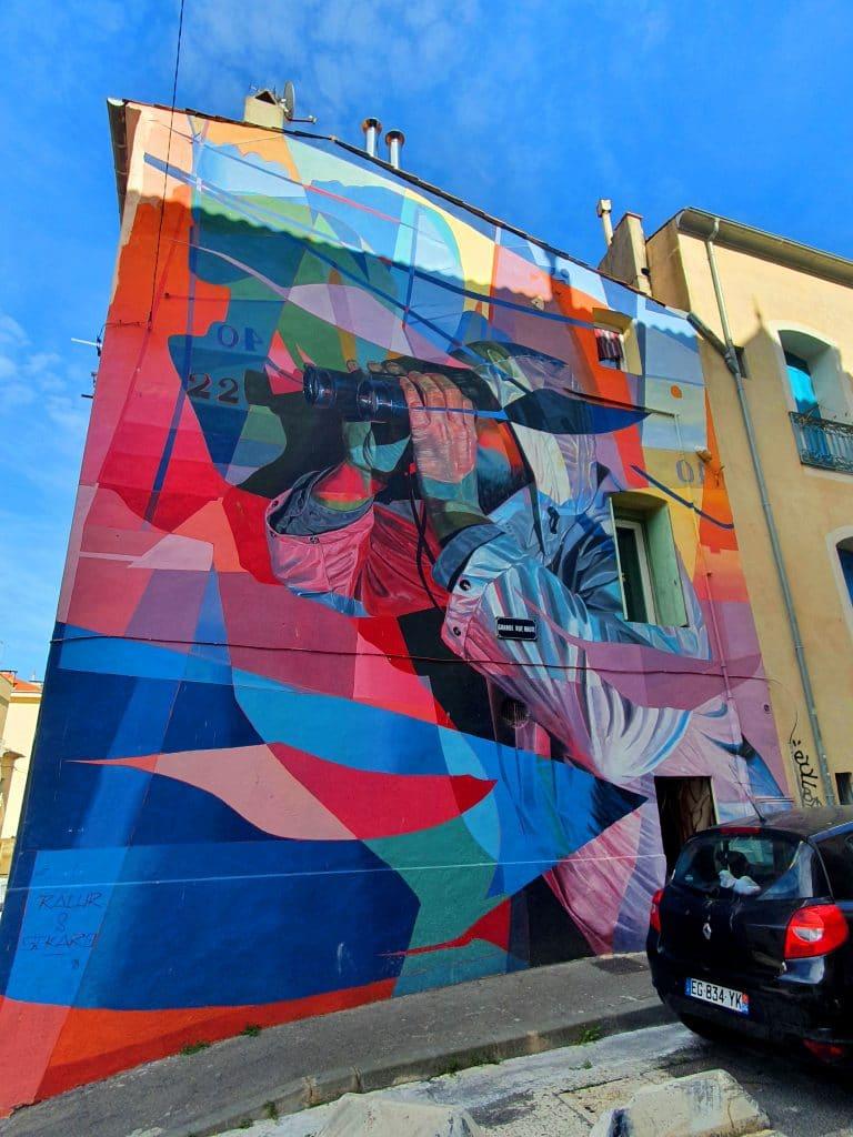 La fresque des street artistes Ratur et Sckaro à Sète (France)
