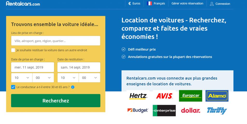 Rentalcars pour comparer les prix de voiture de location (préparer son voyage)