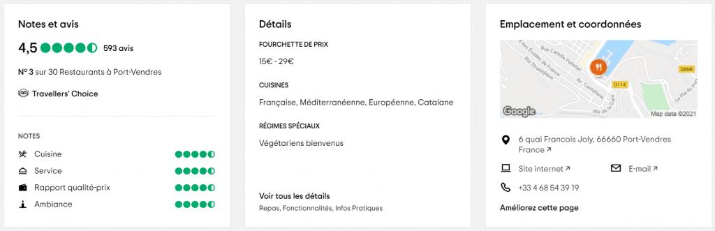 Classement Tripadvisor du Restaurant du port de Port-Vendres (France)