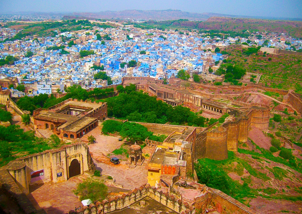 Vue depuis la forteresse de Mehrangarh (Jodhpur) pendant mon road trip en Inde