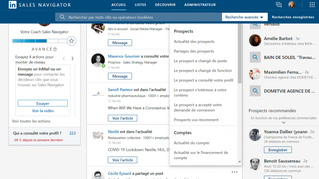 Le système des alertes de LinkedIn Sales Navigator