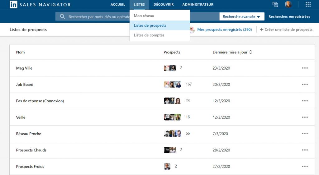 Créer des listes avec LinkedIn Sales Navigator