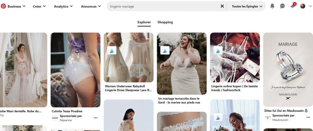 Onglet Shopping dans les résultats de recherche