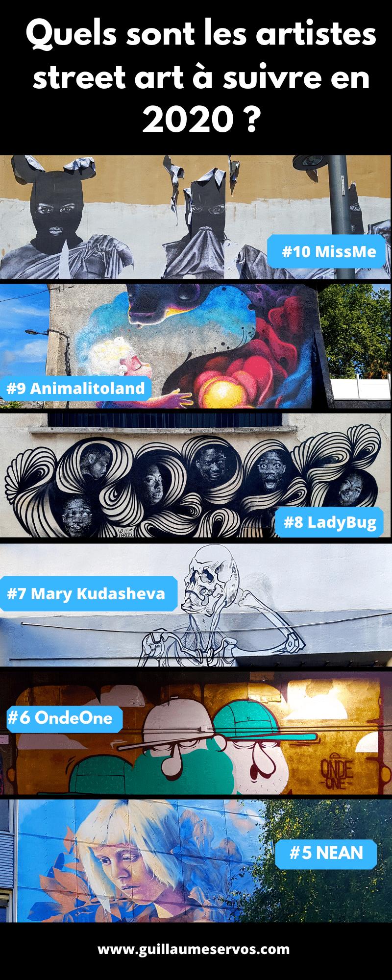 Tu aimes le street art et tu veux découvrir les street artistes les plus prometteurs en 2020. Au menu : MissMe, LadyBug, Aero, PBoy, Doudou Style...