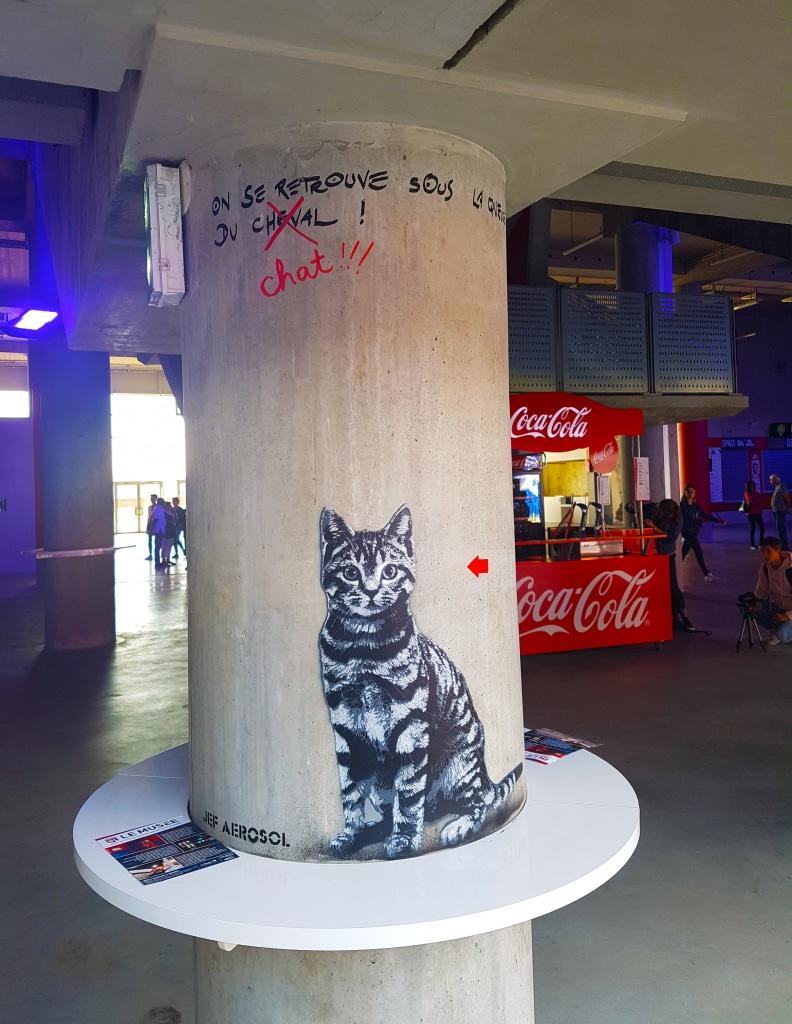 Le chat de Jef Aerosol pour l'exposition street art Offside Gallery au Groupama Stadium, Lyon