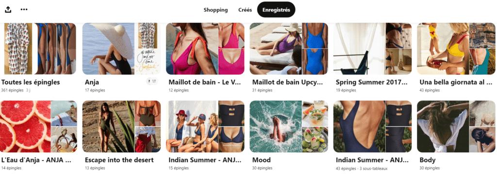 Les tableaux Pinterest de la marque de maillots de bain Anja Paris