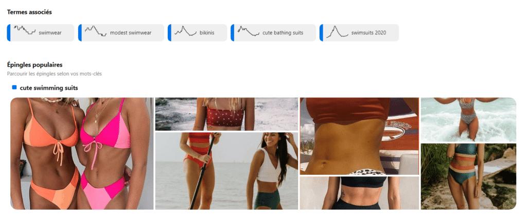 """Les termes associés et les épingles populaires pour la recherche """"cute swimming suits"""" sur l'outil Tendances de Pinterest"""
