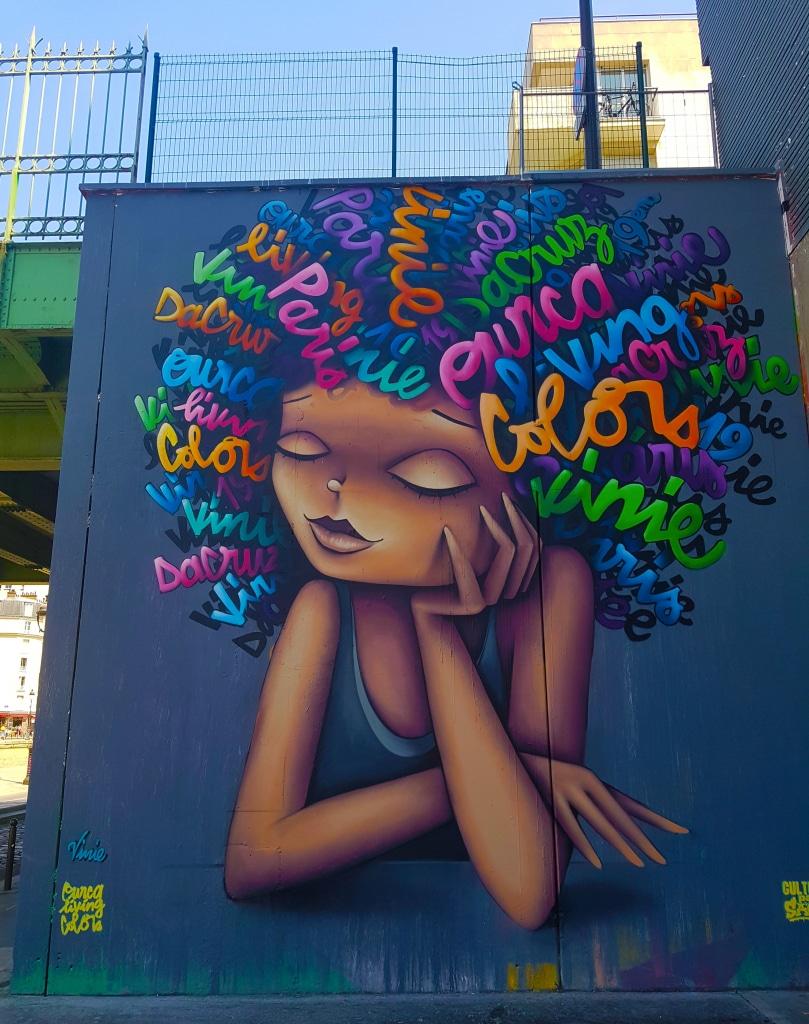Portrait de Vinie, canal de l'Ourcq, street art Paris.