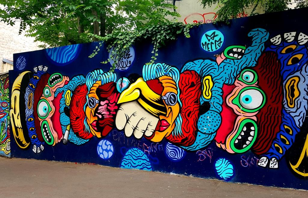 Fresque entre Mouffetard et à la Butte-aux-Cailles à Paris.